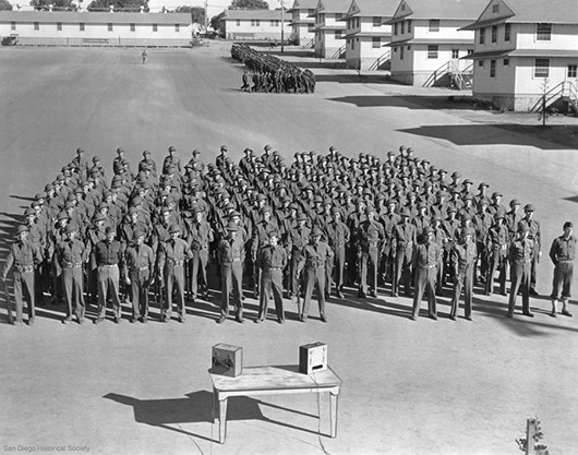 Enlisted soldiers training at Camp Callan, c.1943, archival inkjet print of found web image, 18