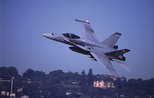 USMC Jet flying over UCSD, archival inkjet print of found web image, 30