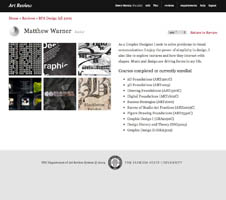 Florida State Art Review website and student application grading system