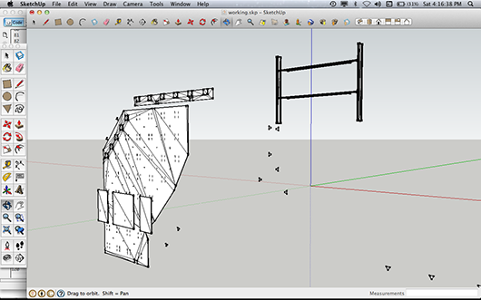 3D fragment from Weimer Hall in Sketchup, 2012