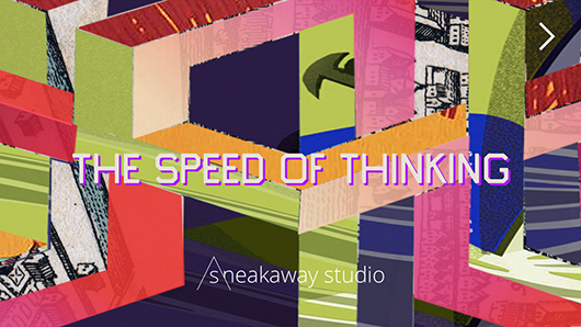 Start screen, The Speed of Thinking by Joelle Dietrick and Owen Mundy