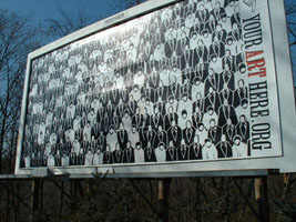 Billboard Nation, 2002; Call for entries in Bloomington, IN resulting in two art billboards on commercially rented spaces; Figure Study, by Andrew Glenn