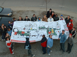 Billboard Generation II, 2004. The second Youth Art billboard competition took place in Bloomington and Indianapolis, resulting in four billboards in each city. Eight different artworks made by students in grades k-12 responded to the question